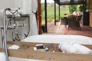 Seppeltsfield Vineyard Cottage luxury Barossa vineyard accommodation - bathtub with a view